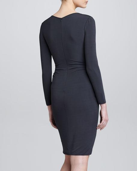 Draped Jersey Dress, Charcoal