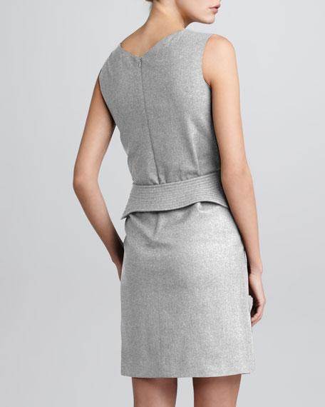 Stretch Trapunto Belt-Detail Dress, Gray