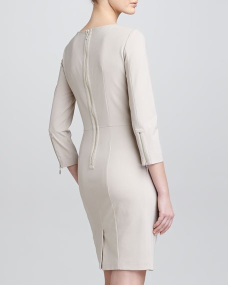 Three-Quarter-Sleeve Crepe Dress, Taupe
