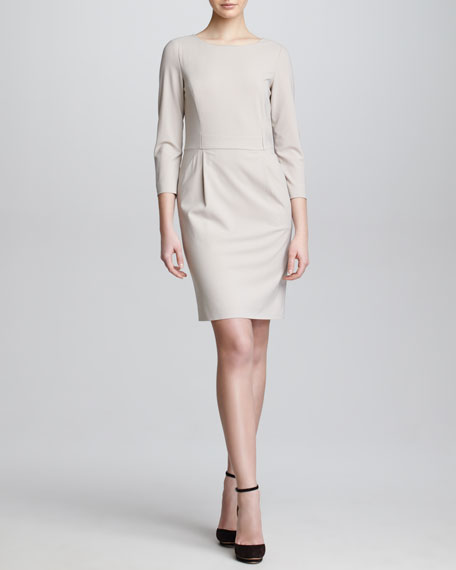 Three-Quarter-Sleeve Crepe Dress, Taupe