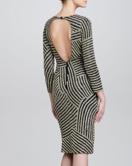 Deco Beaded Backless Dress, Black/Silver