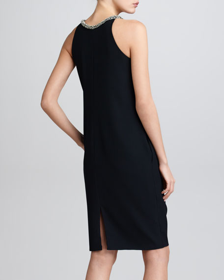 Beaded Halter Shift Dress, Black
