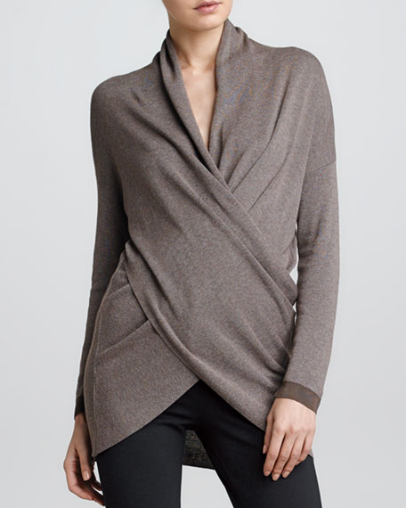 Draped Faux Wrap Sweater, Black