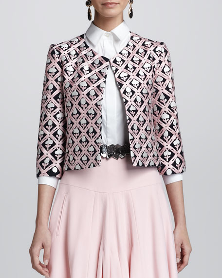 Floral Jewel-Neck Jacket, Navy/Pink
