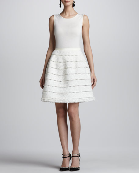 Fringe Tweed A-Line Skirt, Ivory