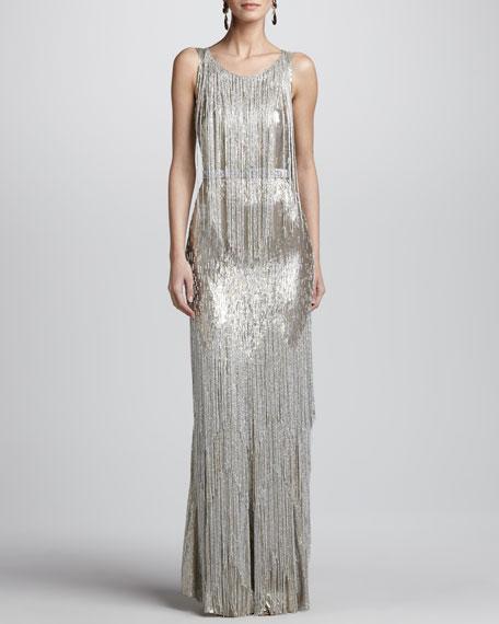 Bead-Fringe Sleeveless Column Gown