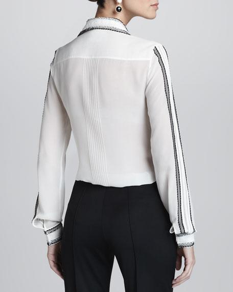 Lace-Embellished Long-Sleeve Silk Blouse