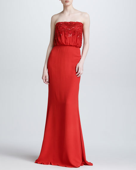 Beaded Strapless Blouson Gown, Crimson