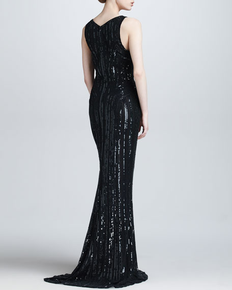 Sequined Plunging Evening Gown, Black