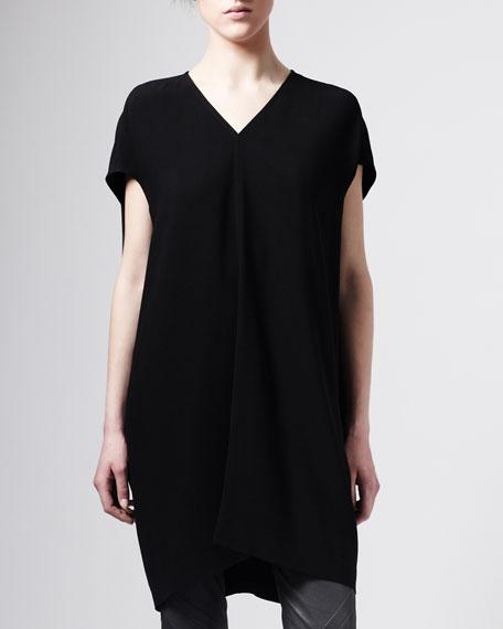 Raw Silk Tunic, Black