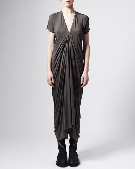 Draped Cap-Sleeve Dress, Dust