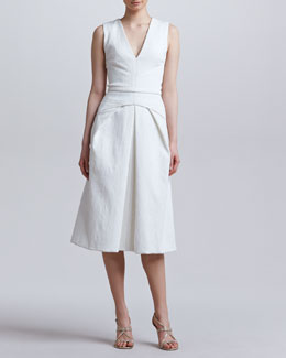 J. Mendel Folded V-Neck Dress, Snow