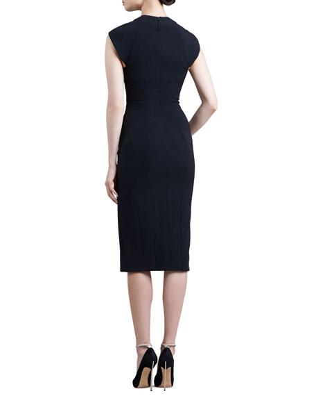 Cutout Cap-Sleeve Dress, Black
