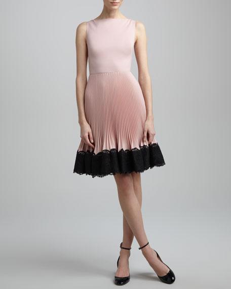 Lace-Trim Plisse Dress, Rose