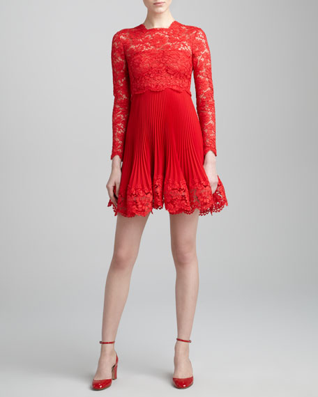 Long-Sleeve Lace Plisse Dress, Rosso