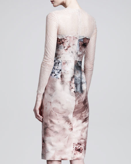 Fluid Garden Floral-Print Lace-Top Dress
