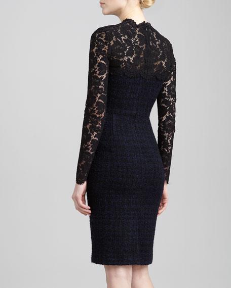 Lace-Yoke Tweed Boucle Dress, Blue/Black
