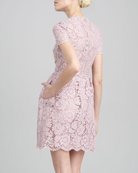 Short-Sleeve Floral Lace Dress, Rosa