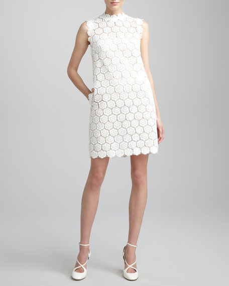Rose Guipure Lace Shift Dress, Ivory