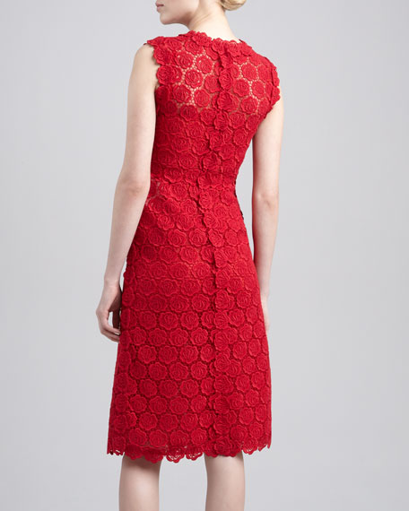 Rose Guipure Lace Sheath Dress, Rouge