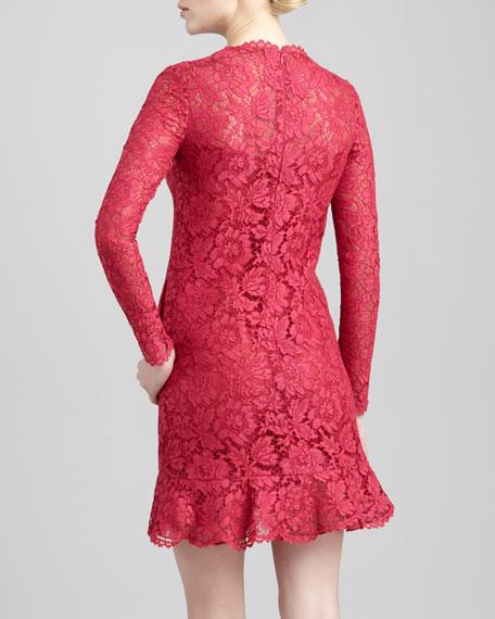 Ruffle-Hem Long-Sleeve Lace Dress, Cassis