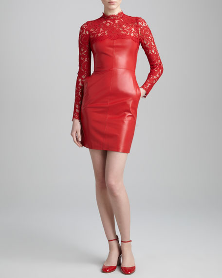 Lace-Yoke Leather Dress, Rosso
