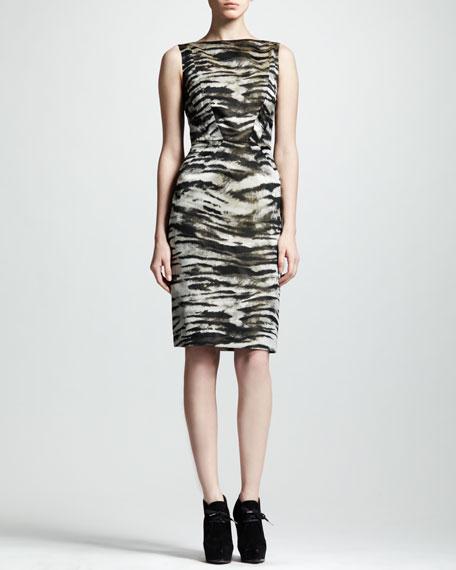 Zebra-Jacquard Sheath Dress