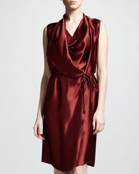 Techno-Satin Wrap Dress