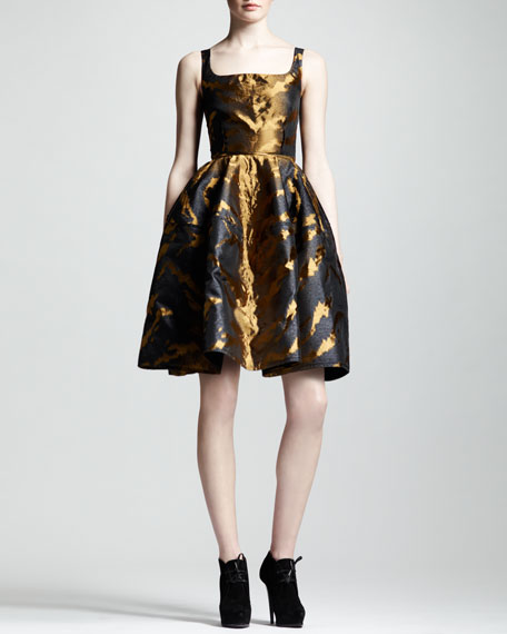 Tiger-Jacquard Full-Skirt Dress