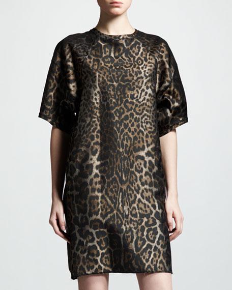 Belted Leopard-Jacquard Shift Dress