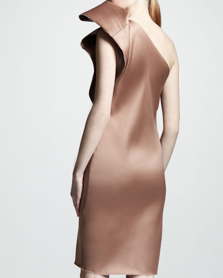 One-Shoulder Duchess Satin Dress