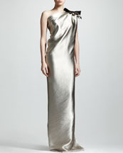 Lanvin One-Shoulder Duchess Satin Column Gown