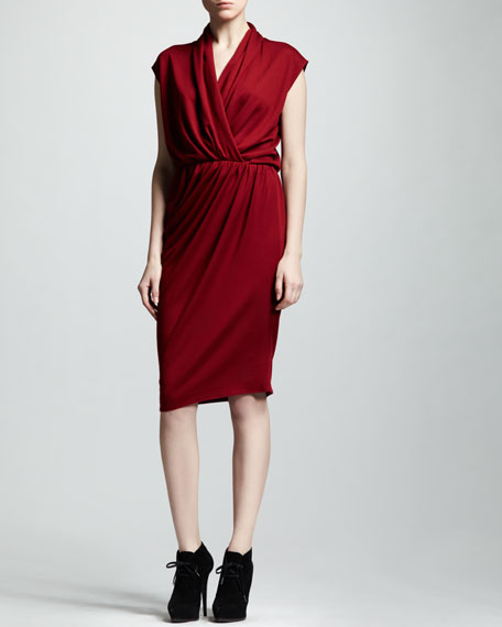 Wrap-Front Jersey Dress