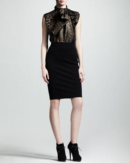 High-Waist Back-Zip Pencil Skirt, Black