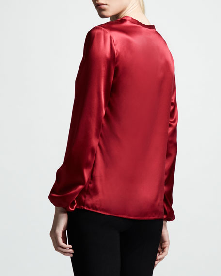 Washed Satin Blouse, Rouge Fonce