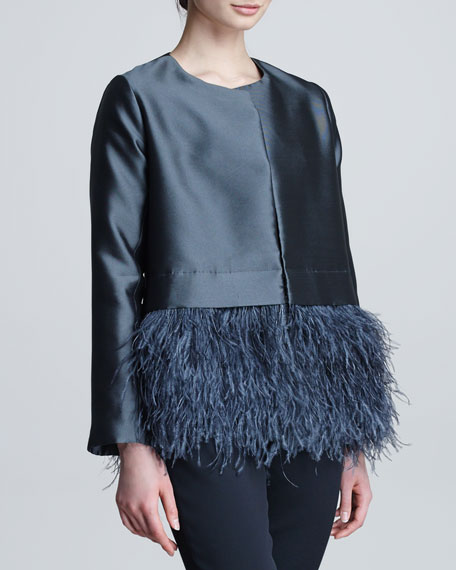 Feather-Hem Satin Jacket