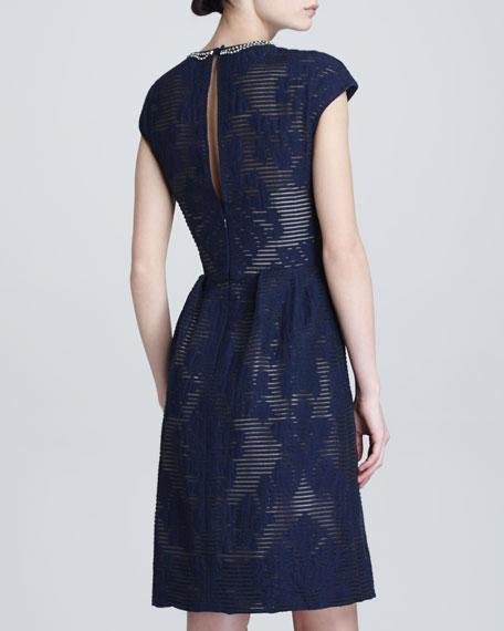 Crystal-Neck Fil Coupe Dress