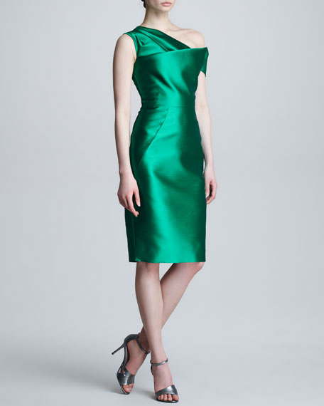 Asymmetric Folded Satin Dress
