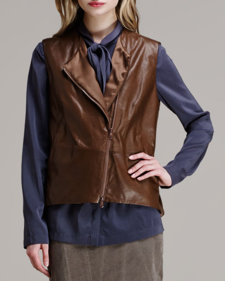 Leather Asymmetric-Zip Vest