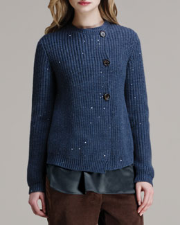 Brunello Cucinelli Paillette Ribbed Elbow-Patch Cardigan