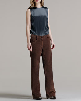 Brunello Cucinelli Wide-Leg Velvet Trousers