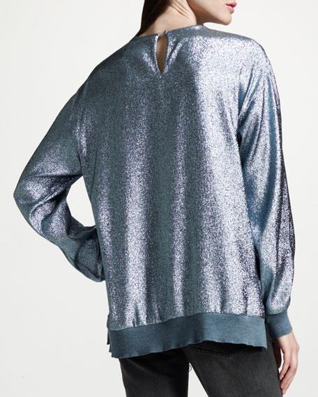 Metallic Sweatshirt, Wedgewood