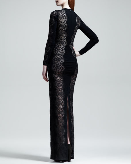 Scallop-Panel Lace Long-Sleeve Gown, Black
