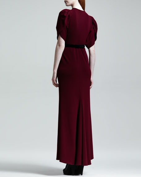 Keyhole Flutter-Sleeve Long Dress