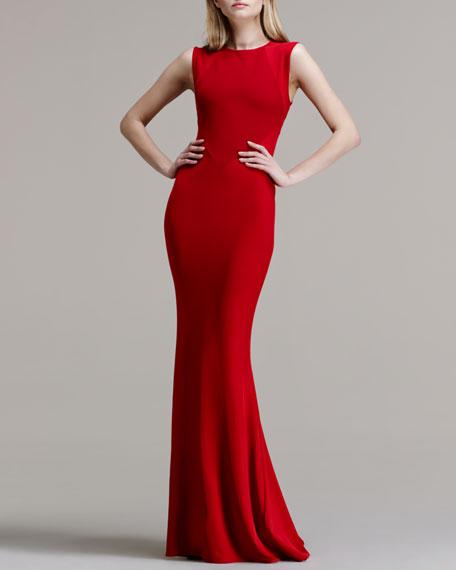 Paneled-Bodice Mermaid-Skirt Gown