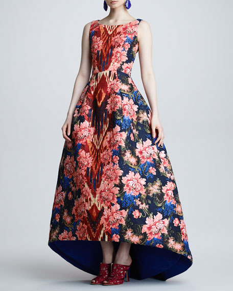 Floral Ikat Jacquard Gown, Navy/Red