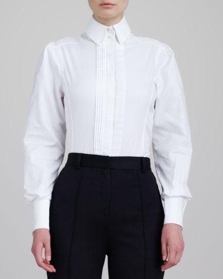Sleeveless Stand-Collar Shirt, White