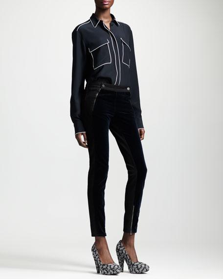 Velvet-Panel Ankle-Zip Jeans