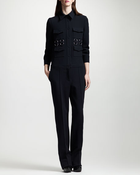 Button-Front Stretch Wool Jumpsuit