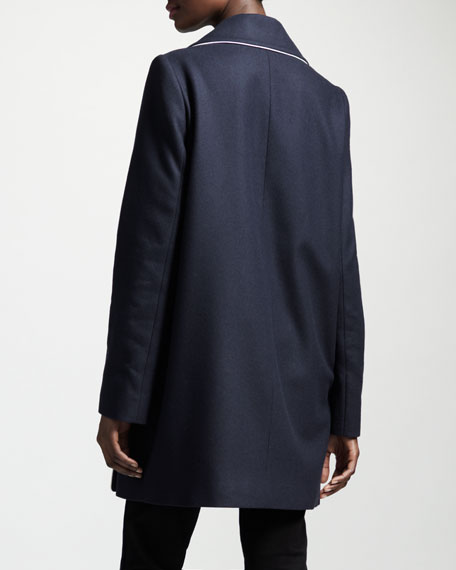 Boxy Double-Breasted Contrast-Piping Coat